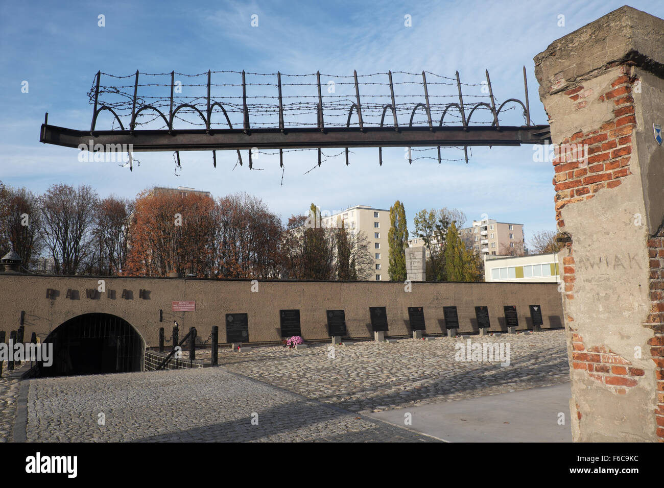Warsaw Poland - Entrance to the Pawiak prison used by the Germans during WW2 for interrogation, torture and execution - Stock Image