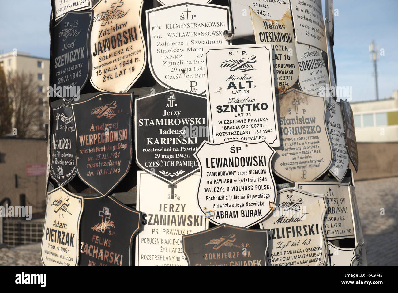 Warsaw Poland - Memorials at the entrance to the Pawiak prison used by the Nazi Germans during WW2 for torture and - Stock Image