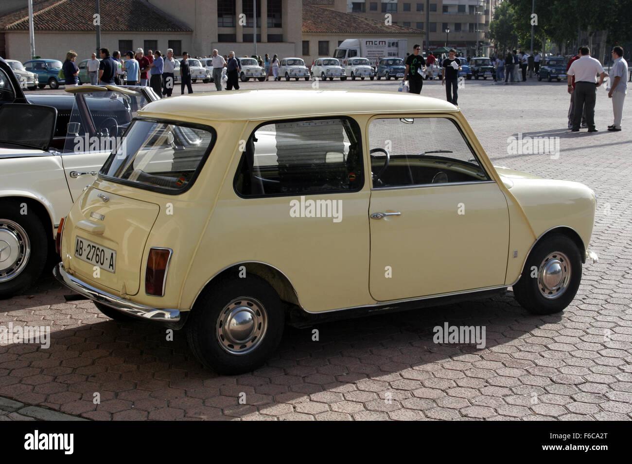 Albacete Circuit : Classical seat 600 car meeting in albacete spain. mini morris stock