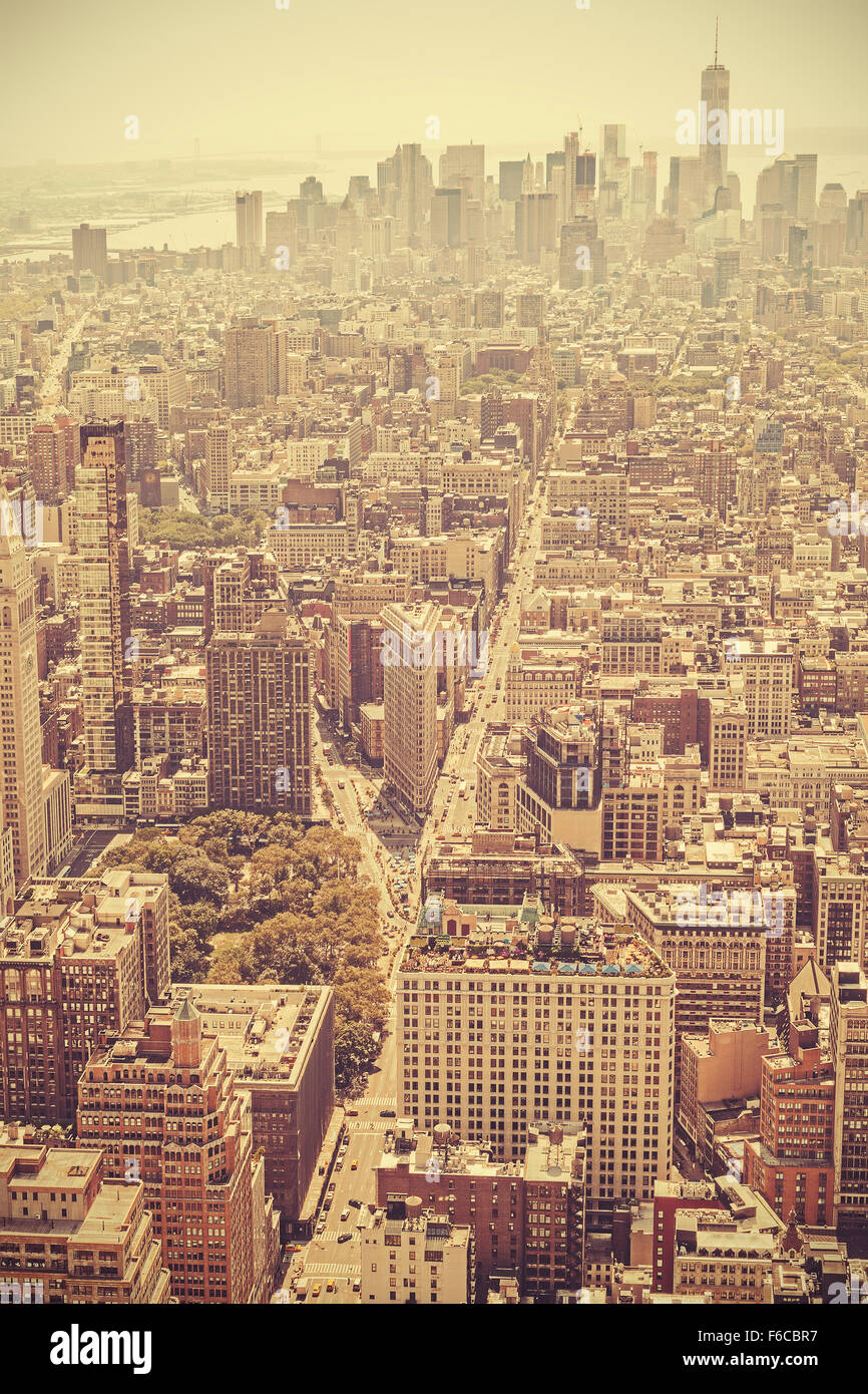 Retro old film style picture of Manhattan, New York City, USA. - Stock Image
