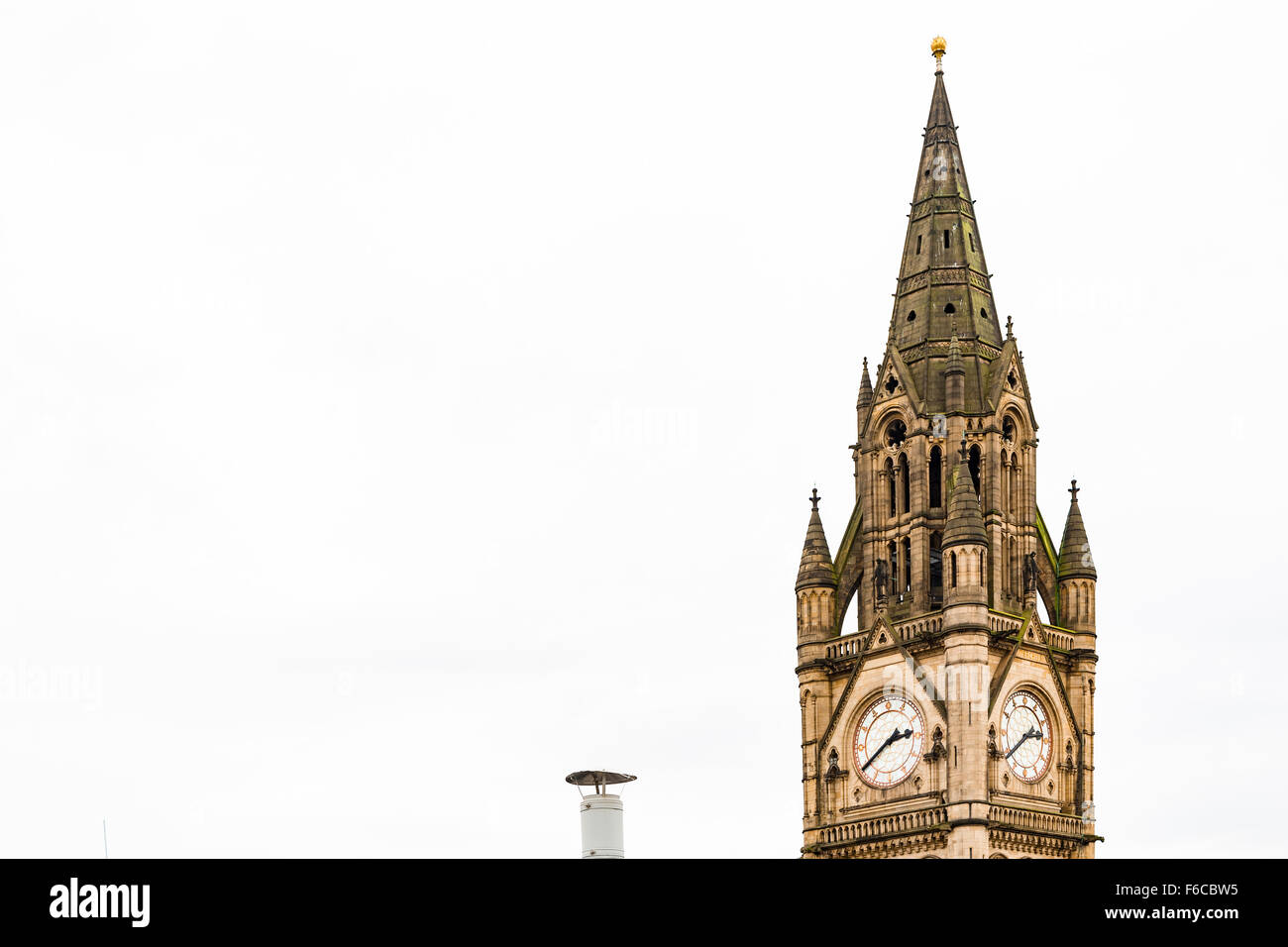 Manchester Town Hall, Manchester UK. Neo Gothic style, designed by architect Alfred Waterhouse - Stock Image