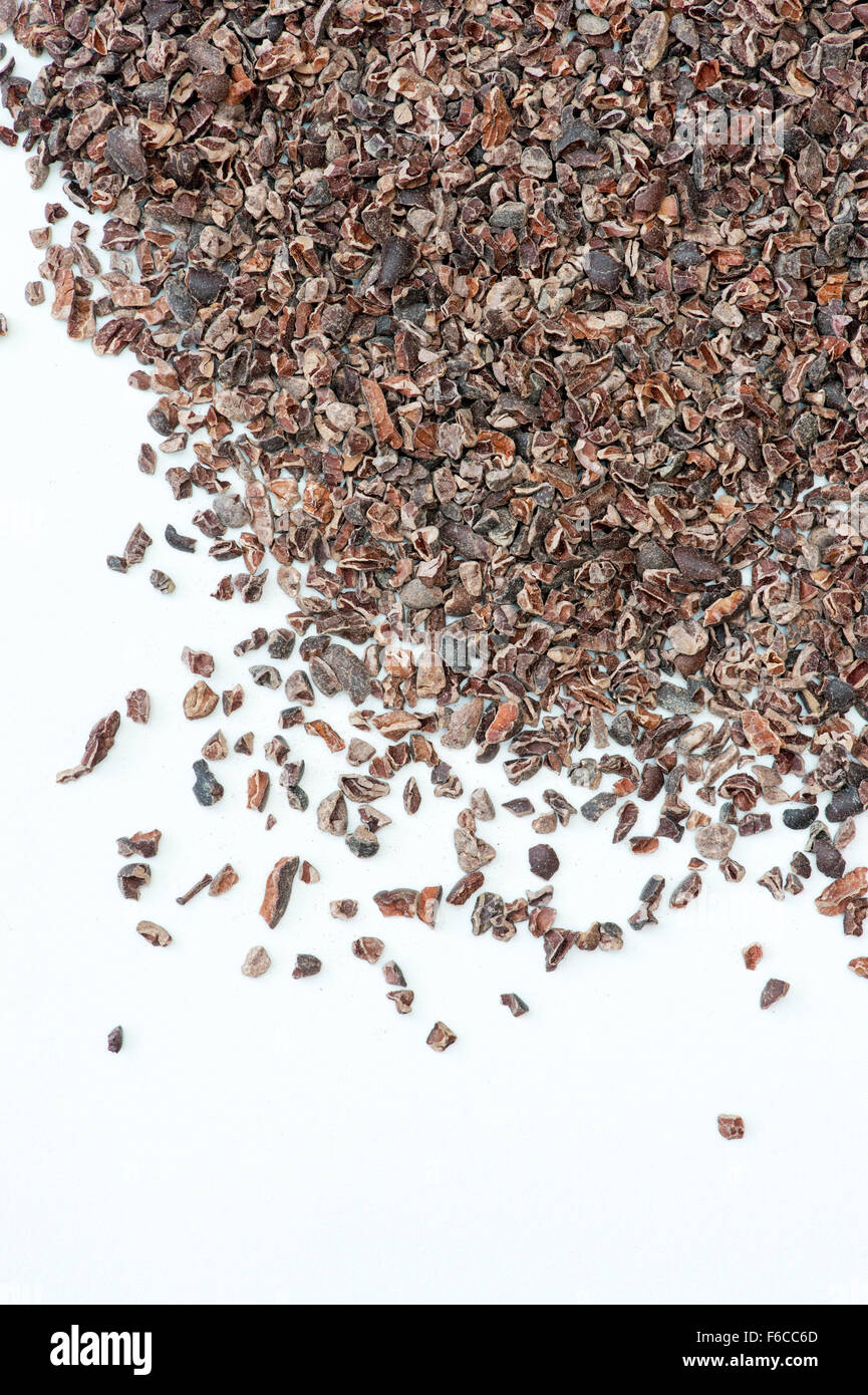Cacao Nibs on white background - Stock Image
