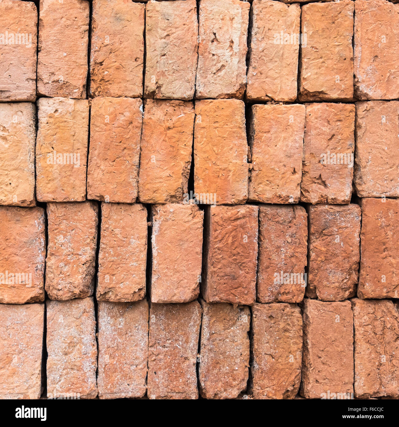 red bricks stacked background - Stock Image