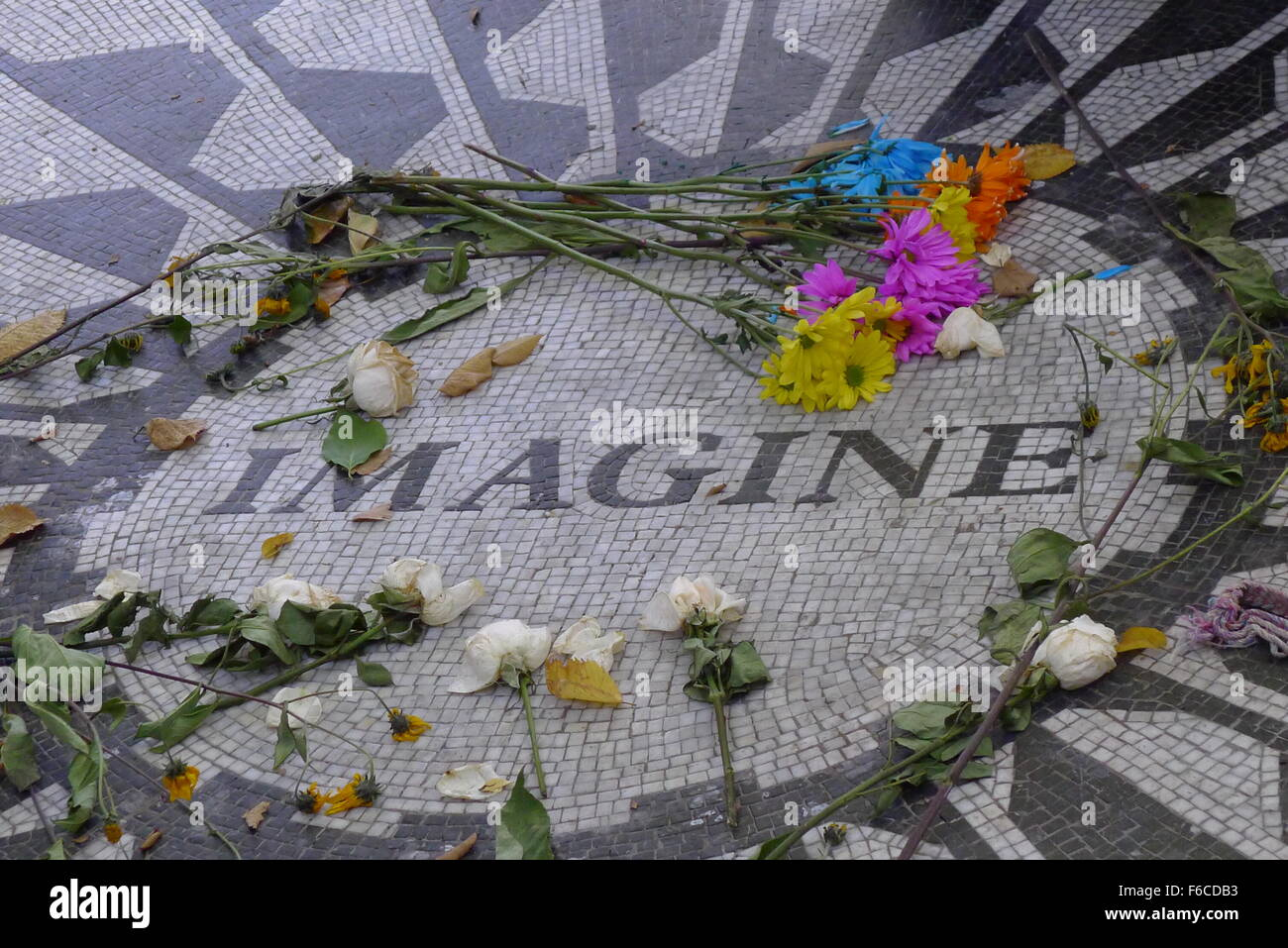 Imagine Mosaic on Strawberry Fields in Central Park Stock Photo