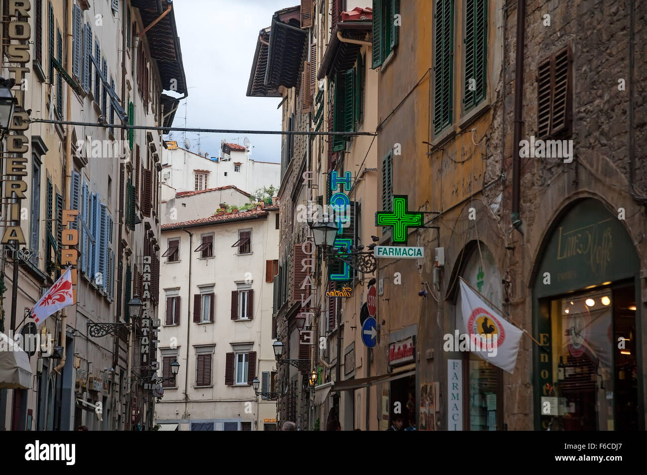 Florence (Firenze), Italy - October 09, 2012: The old narrow street - Stock Image