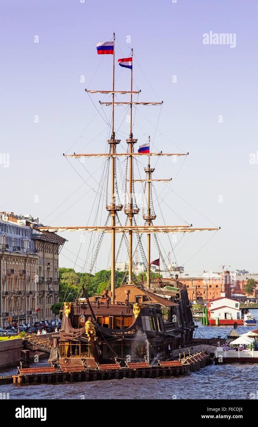 Saint Petersburg, Russia - June 05, 2014: Sailing ship - the Flying Dutchman restaurant on Neva river - Stock Image