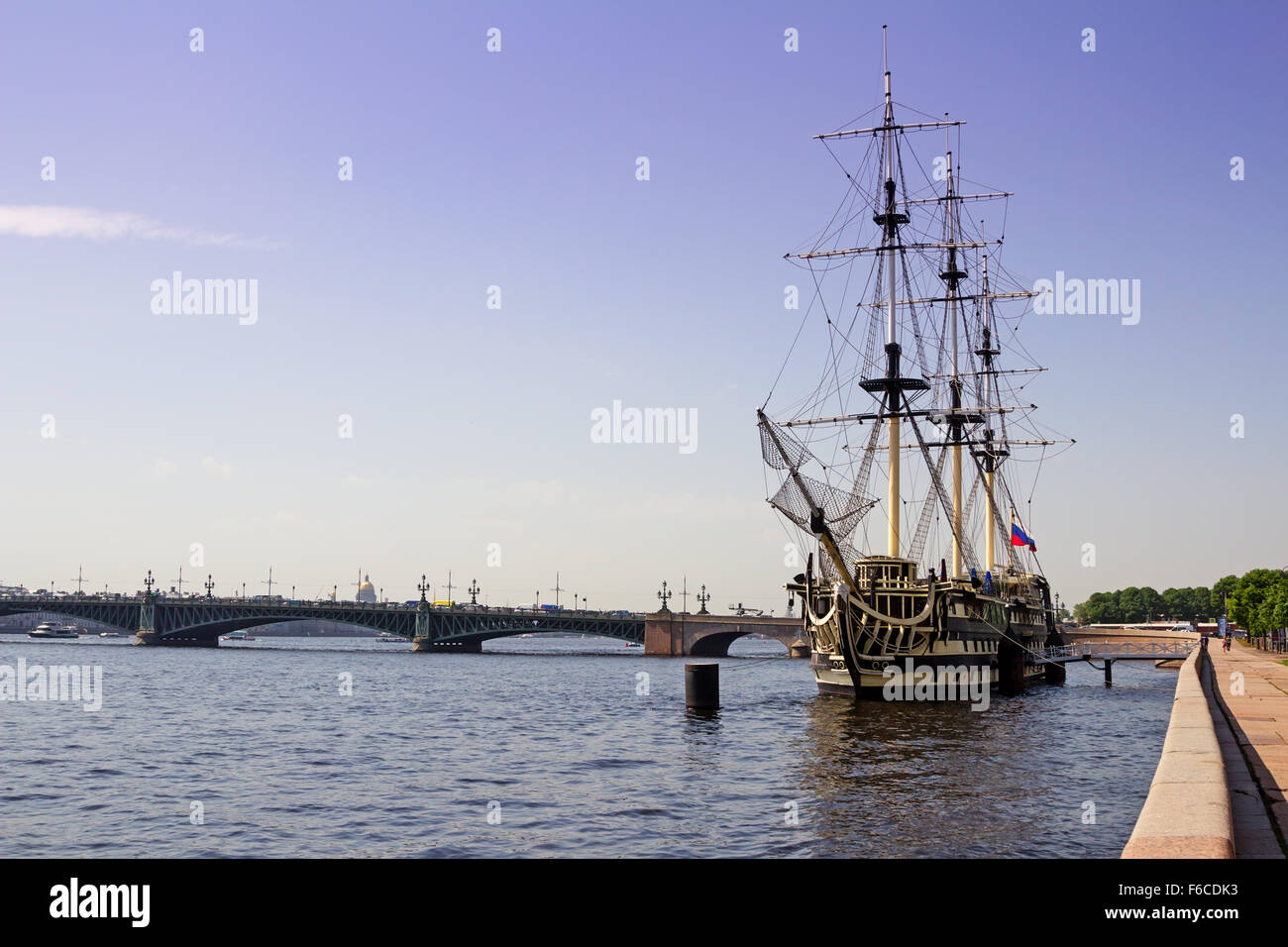 Saint Petersburg, Russia - June 06, 2014: The model of a sailing ship on the Neva river - Stock Image