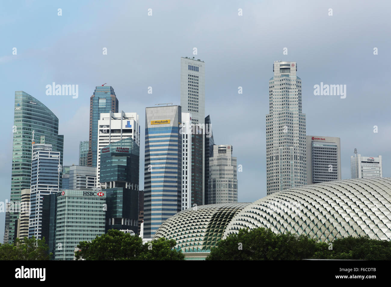 Skyscrapers in the Central Business District (CBD) in Singapore. The skyscrapers house banks and financial institutions. - Stock Image