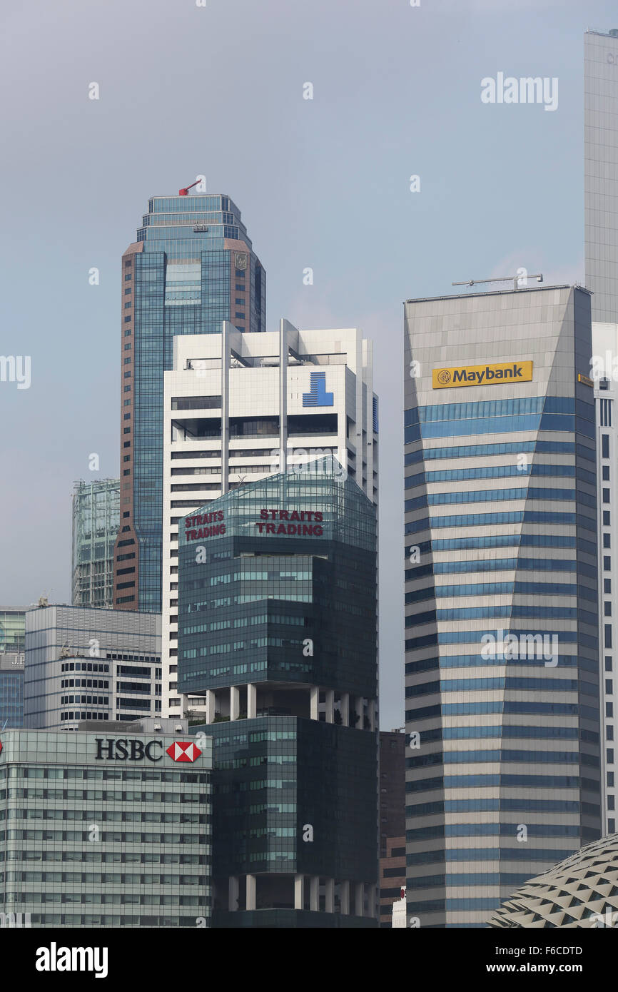 Skyscrapers in the Central Business District (CBD) in Singapore. The skyscrapers house banks and financial institutions. Stock Photo