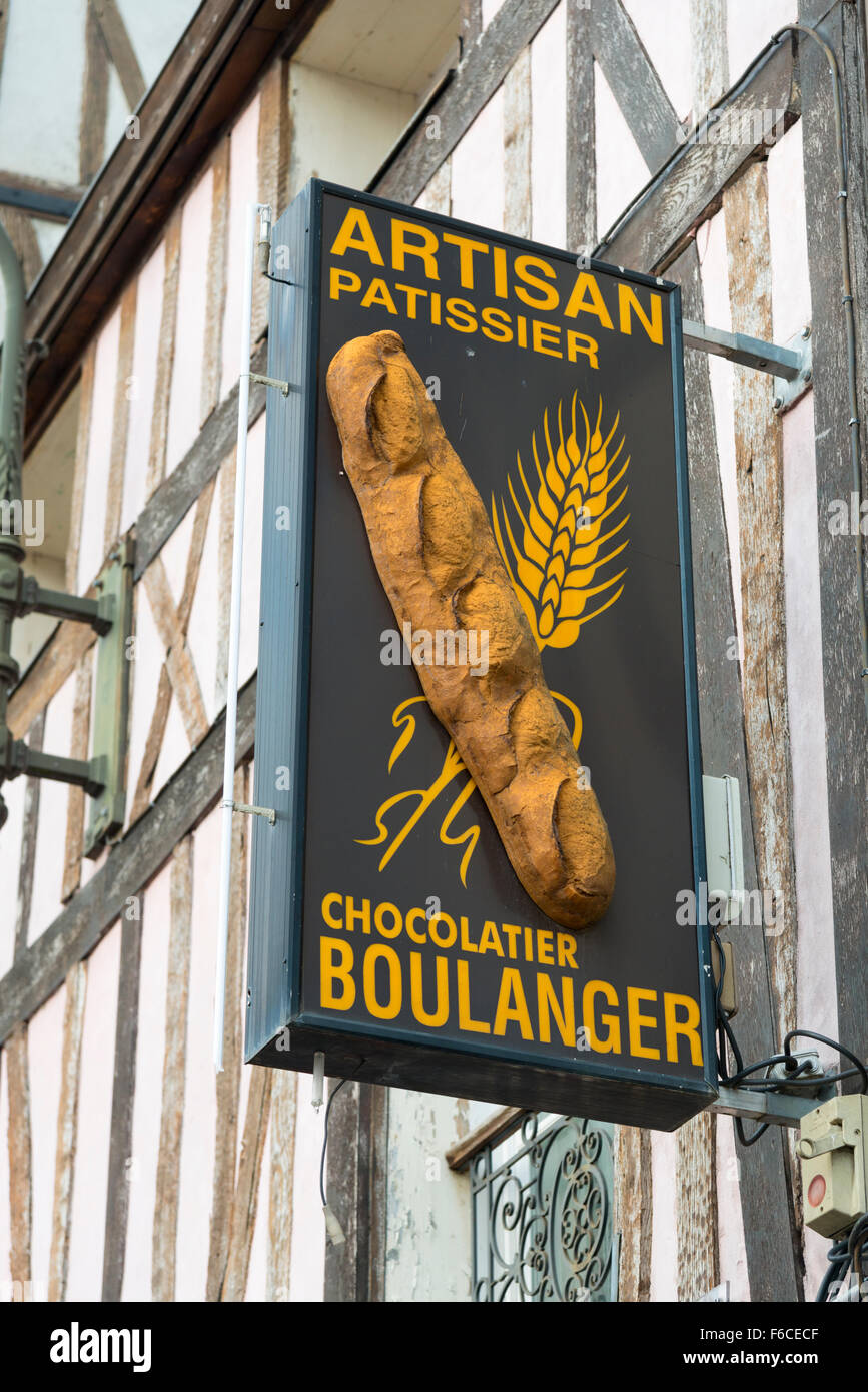 An artisan Bakers shop sign in France, or boulangerie Pattissier and chocolatier - Stock Image