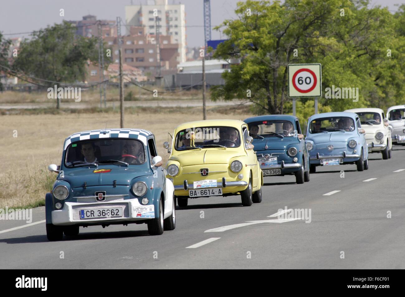 Albacete Circuit : Classical seat 600 car meeting in albacete spain stock photo