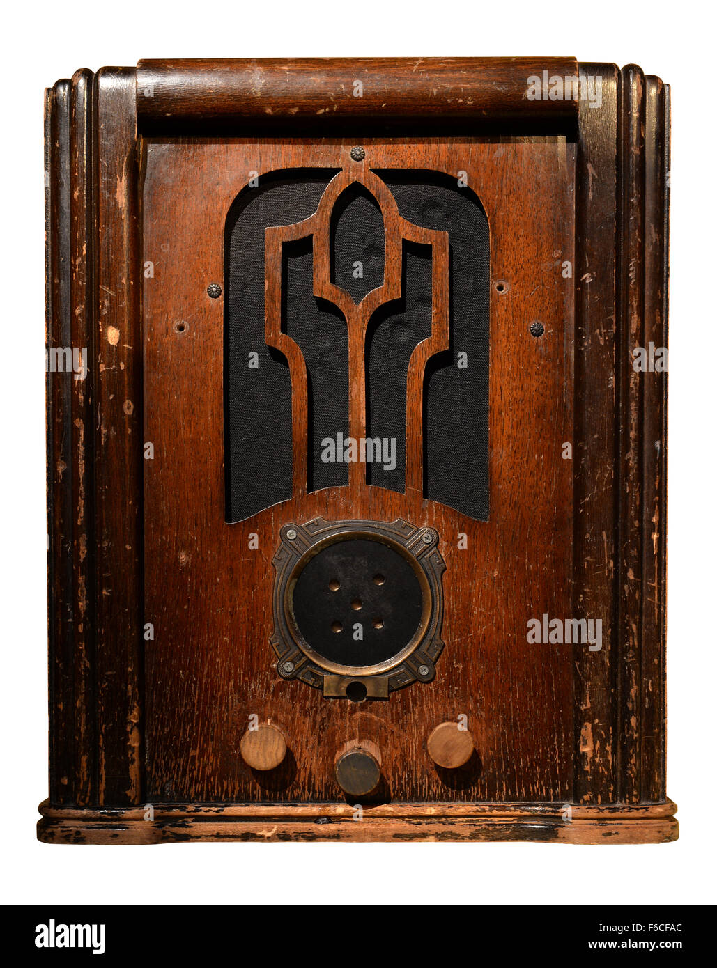 Vintage radio isolated over white background - With clipping path Stock Photo