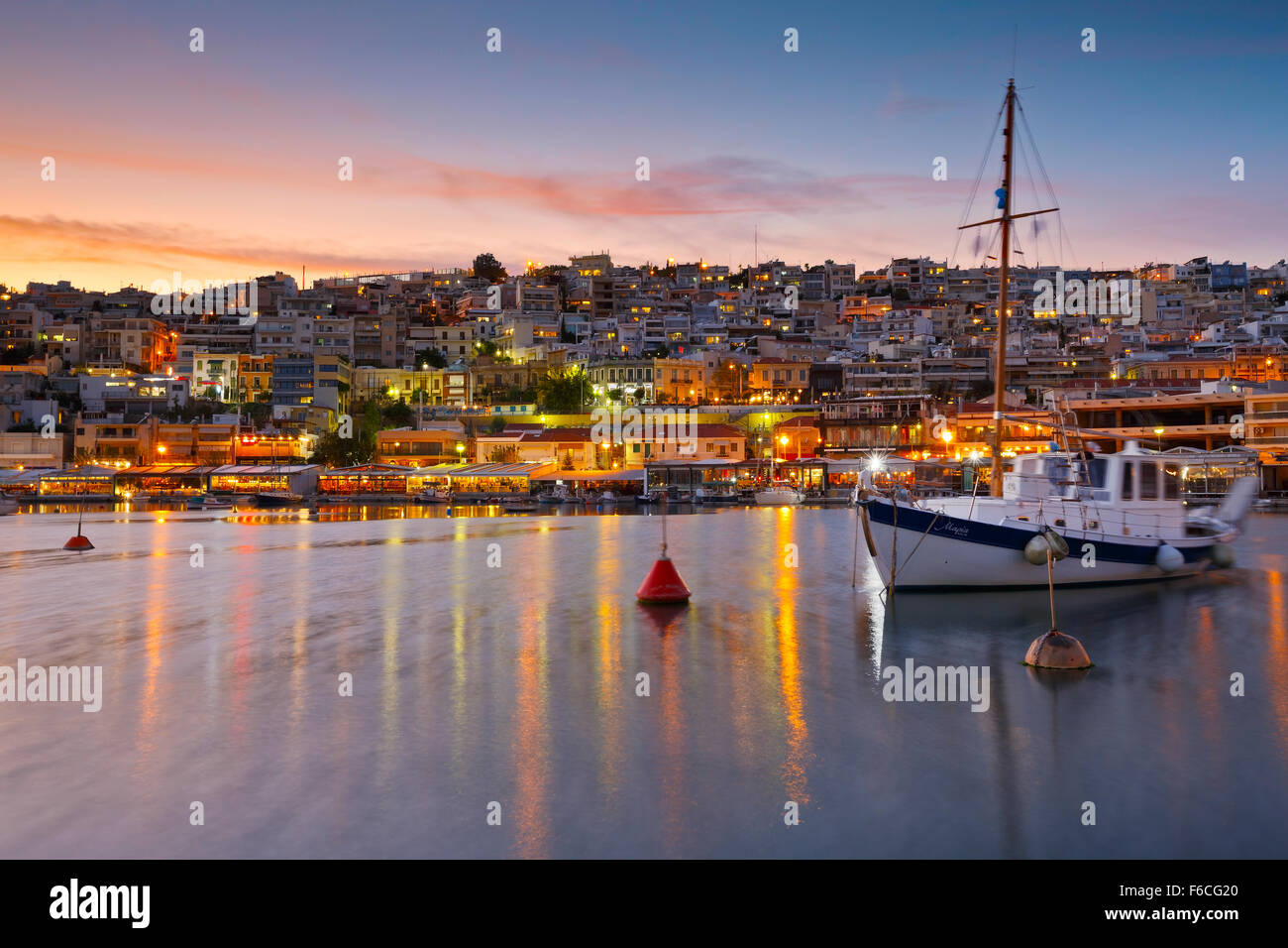 Boat anchored in Mikrolimano marina in Athens, Greece - Stock Image
