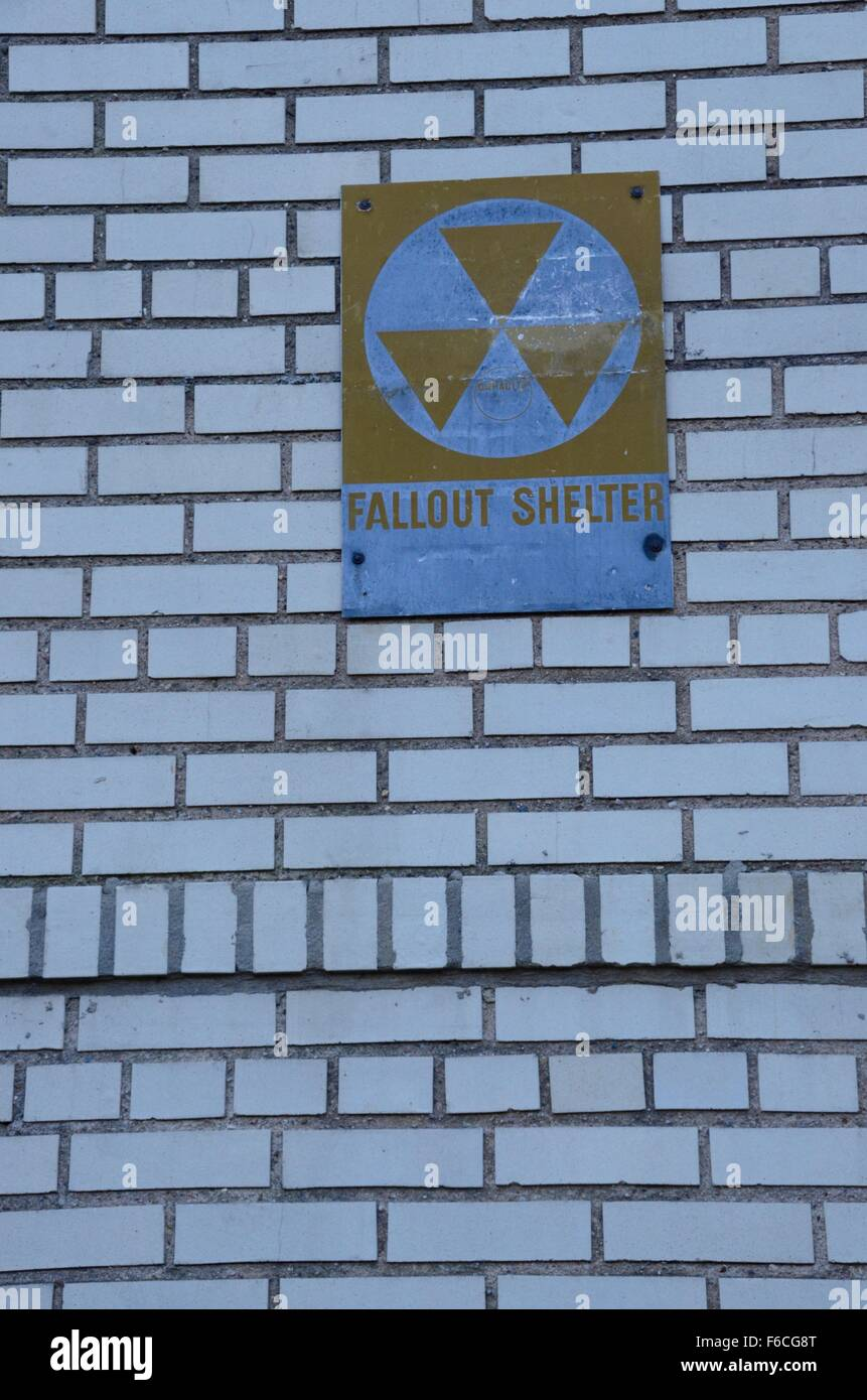 fallout shelter sign brooklyn - Stock Image
