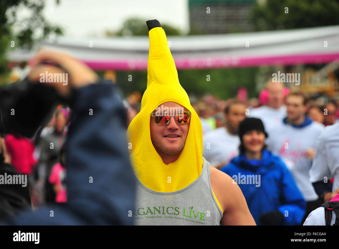 A Man Wears A Yellow Banana Hat As He Participates In The Annua Run