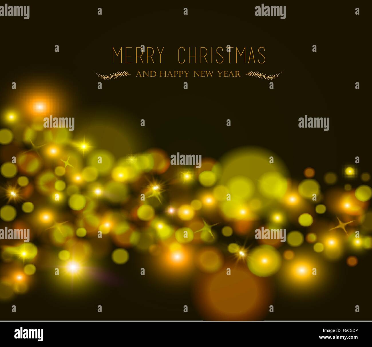 merry christmas happy new year blur bokeh lights star and sparkle background with text ideal for xmas greeting card or holiday