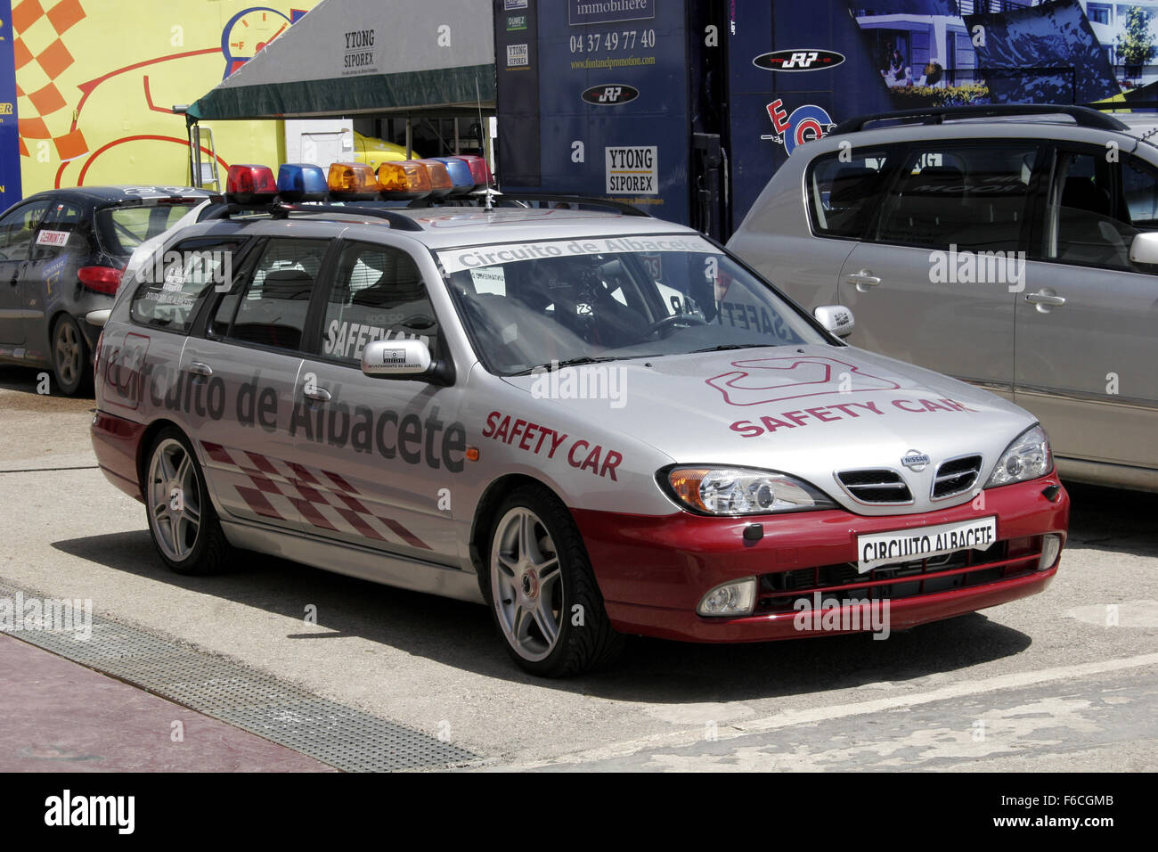 Albacete Circuit : Classical seat 600 car meeting in albacete spain. safety car stock