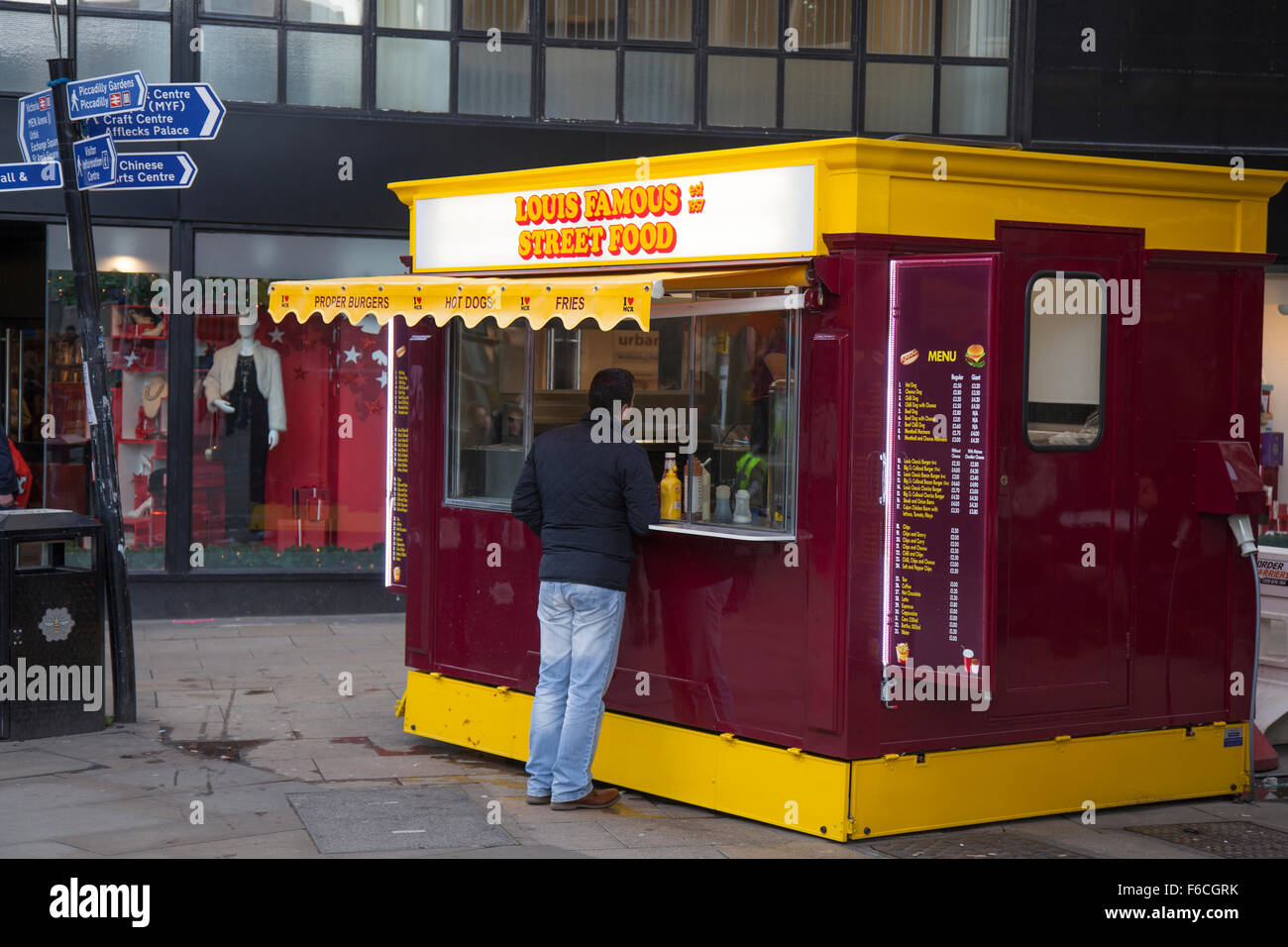 Famous Street food Kiosk in Manchester, City centre, UK - Stock Image