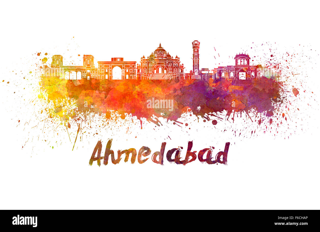 Ahmedabad skyline in watercolor splatters with clipping path - Stock Image