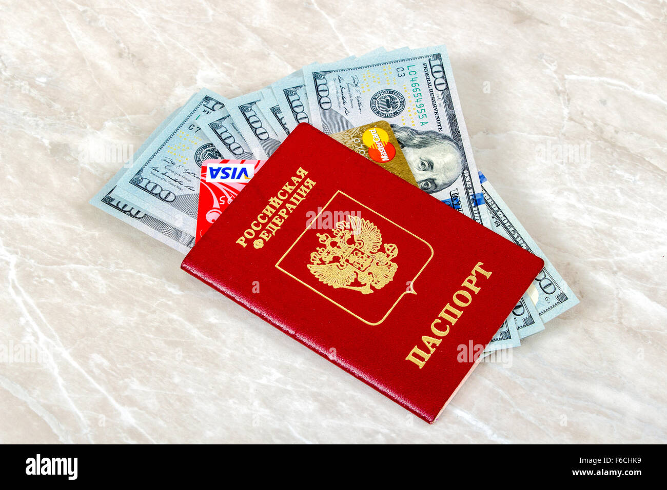 Russian Passport with VISA and Mastercard Debit Card,  American dollars Stock Photo