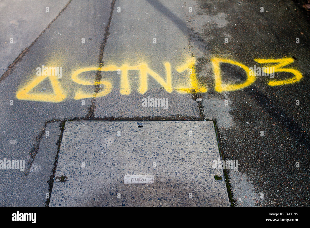 Utilities STN1D3 Pavement Markings in Manchester, UK - Stock Image