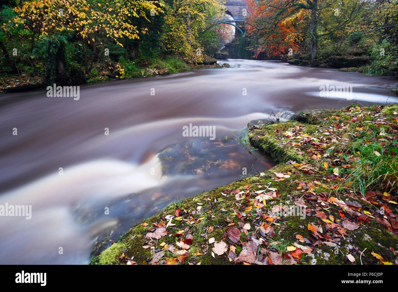 River Eden at Stenkrith Bridge, Kirkby Stephen. Eden Valley. Cumbria. UK. - Stock Image