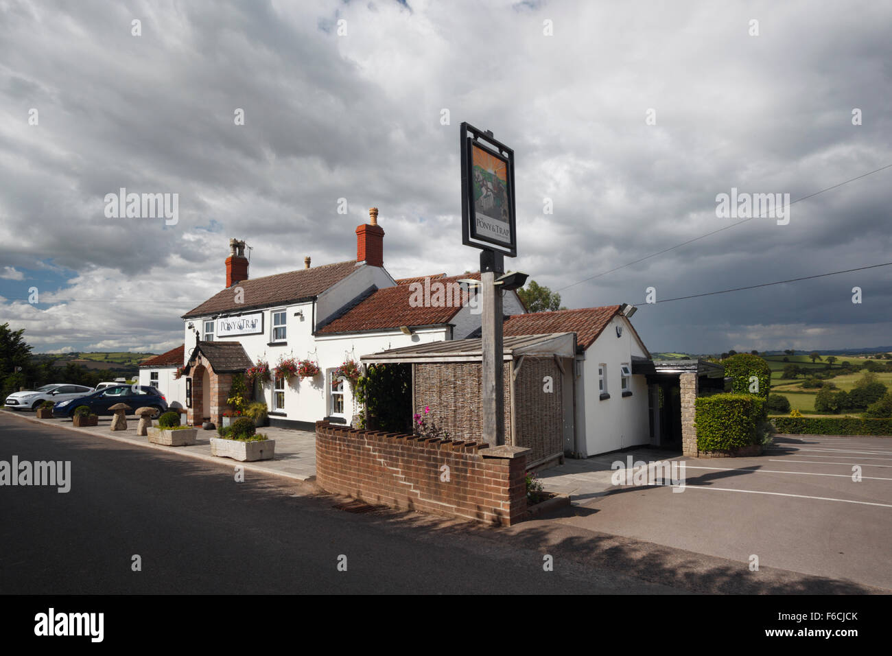 The Pony and Trap Pub. Chew Magna. Somerset, UK. - Stock Image