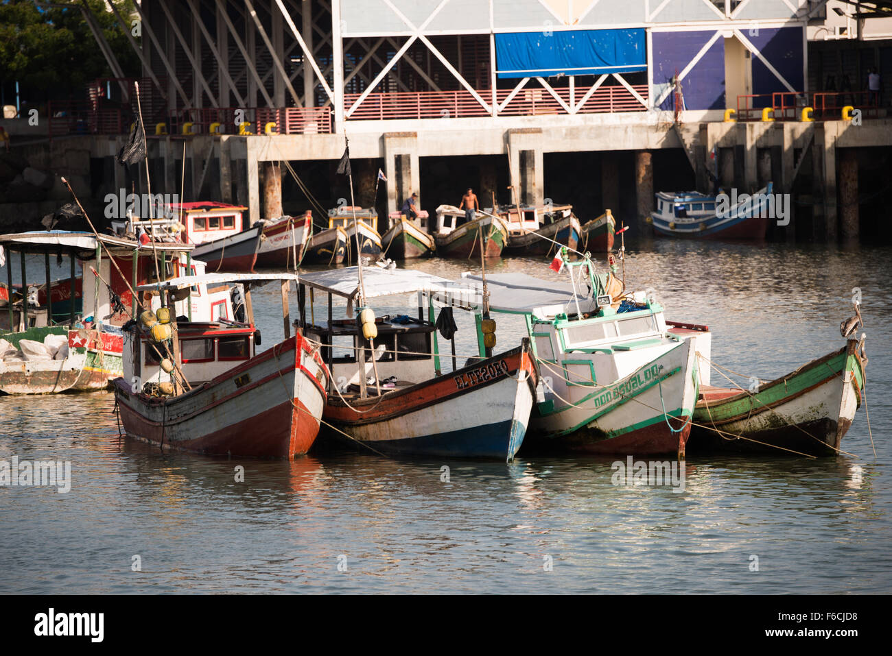 PANAMA CITY, Panama--Small wooden fishing boats on the waterfront of Panama City, Panama, on Panama Bay. Stock Photo