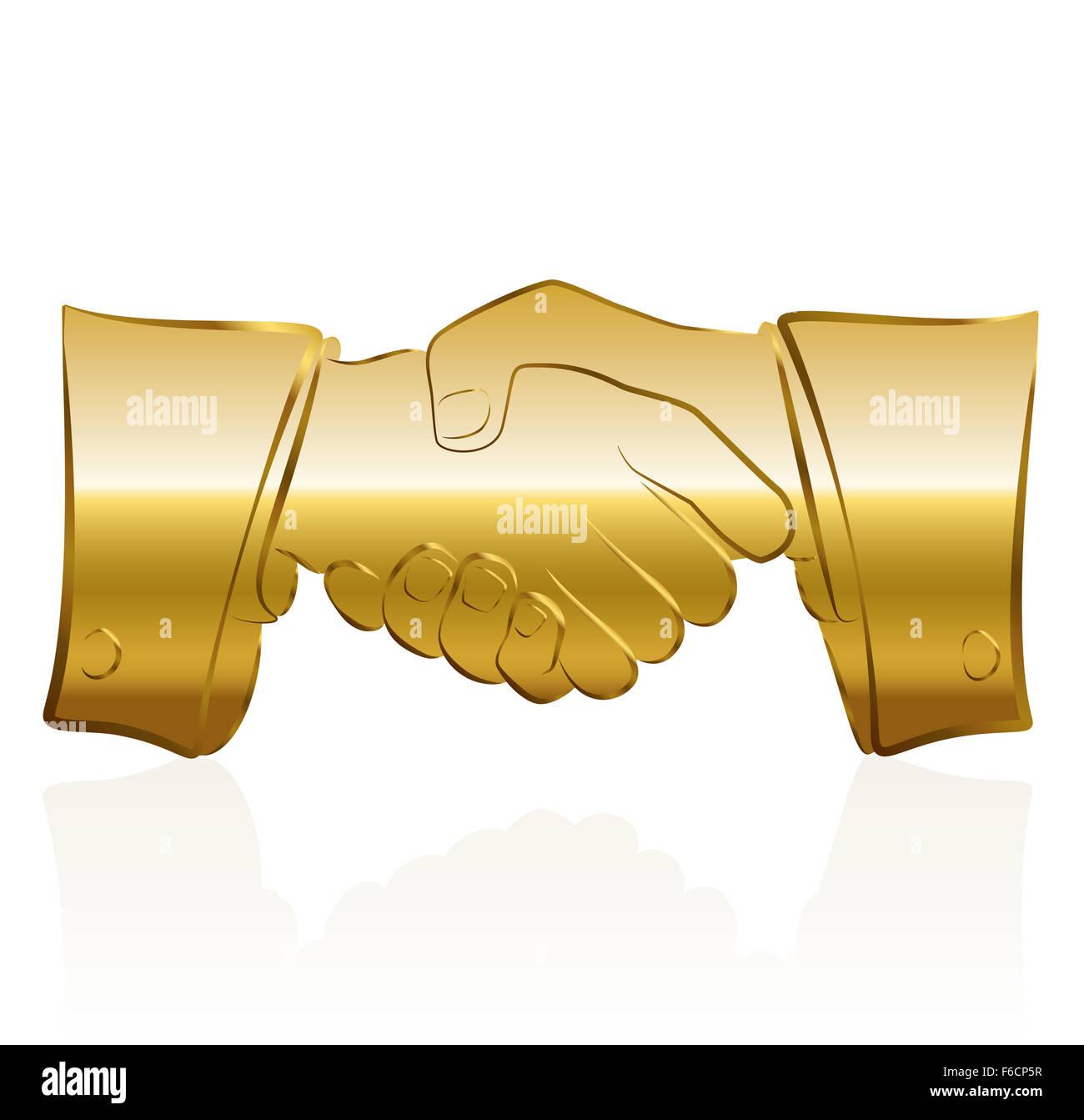 Golden handshake symbol. Stock Photo