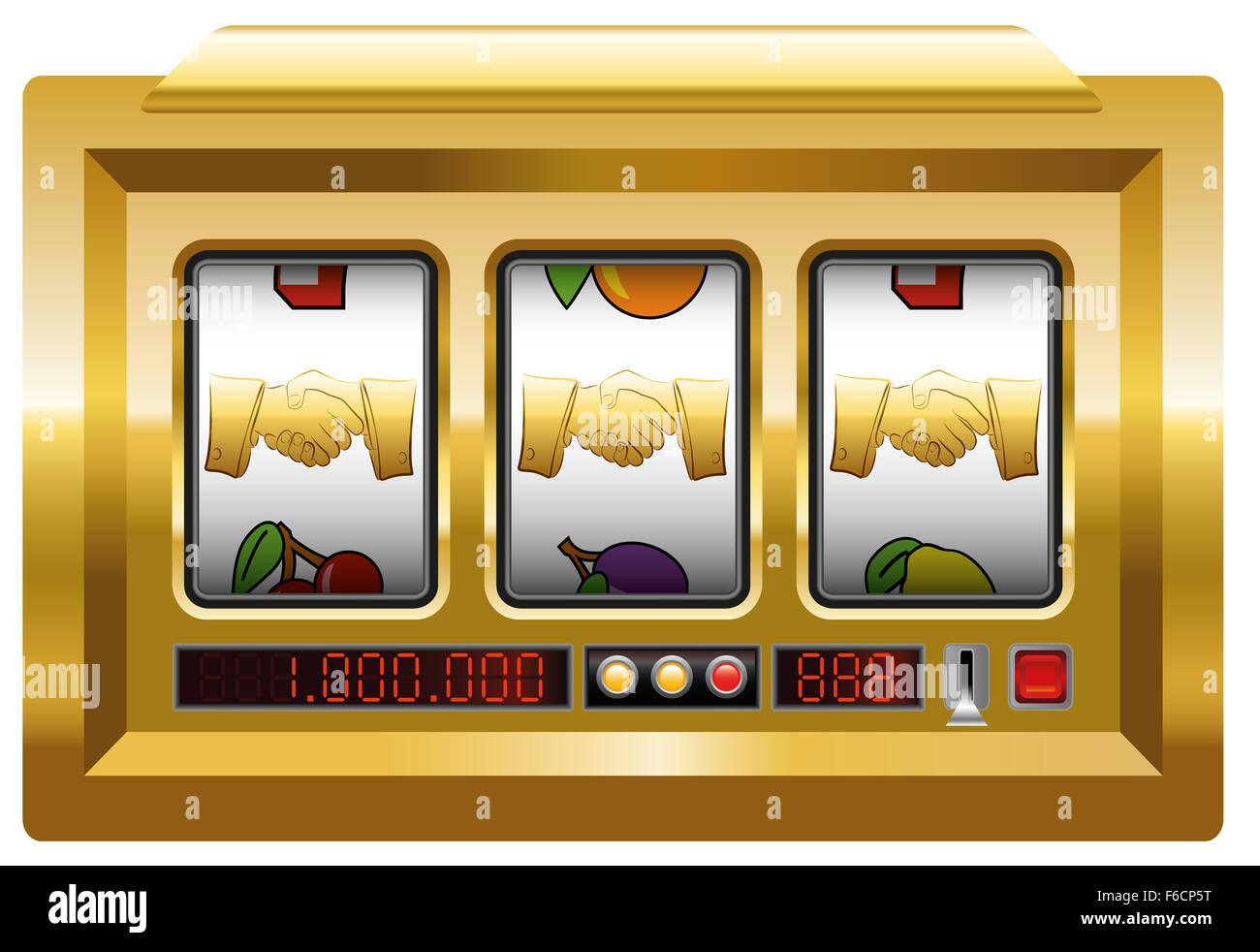 Golden handshake - slot machine with three handshake symbols. - Stock Image