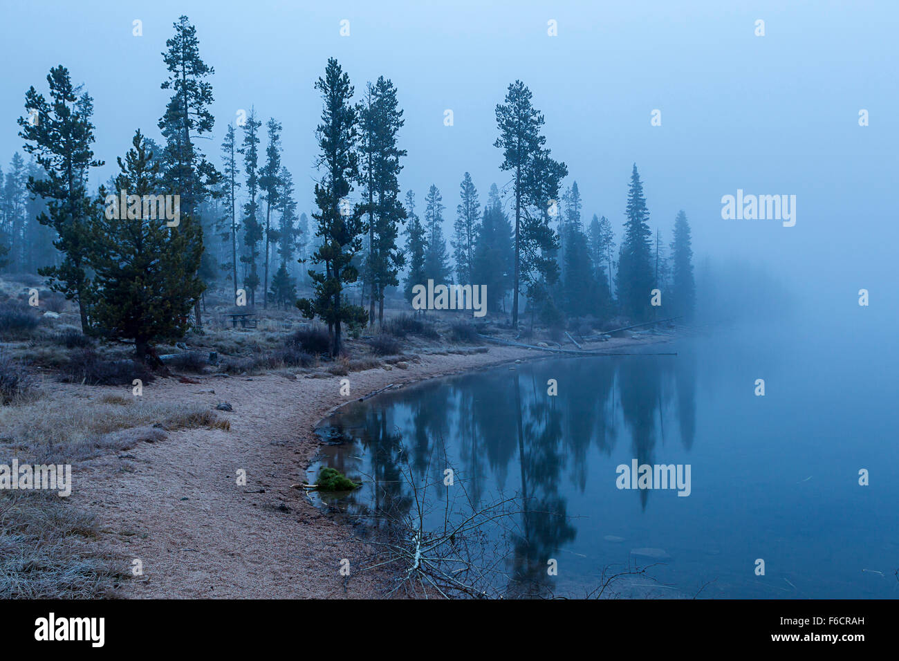 Early morning fog blankets the area around Stanley Lake in Idaho. - Stock Image