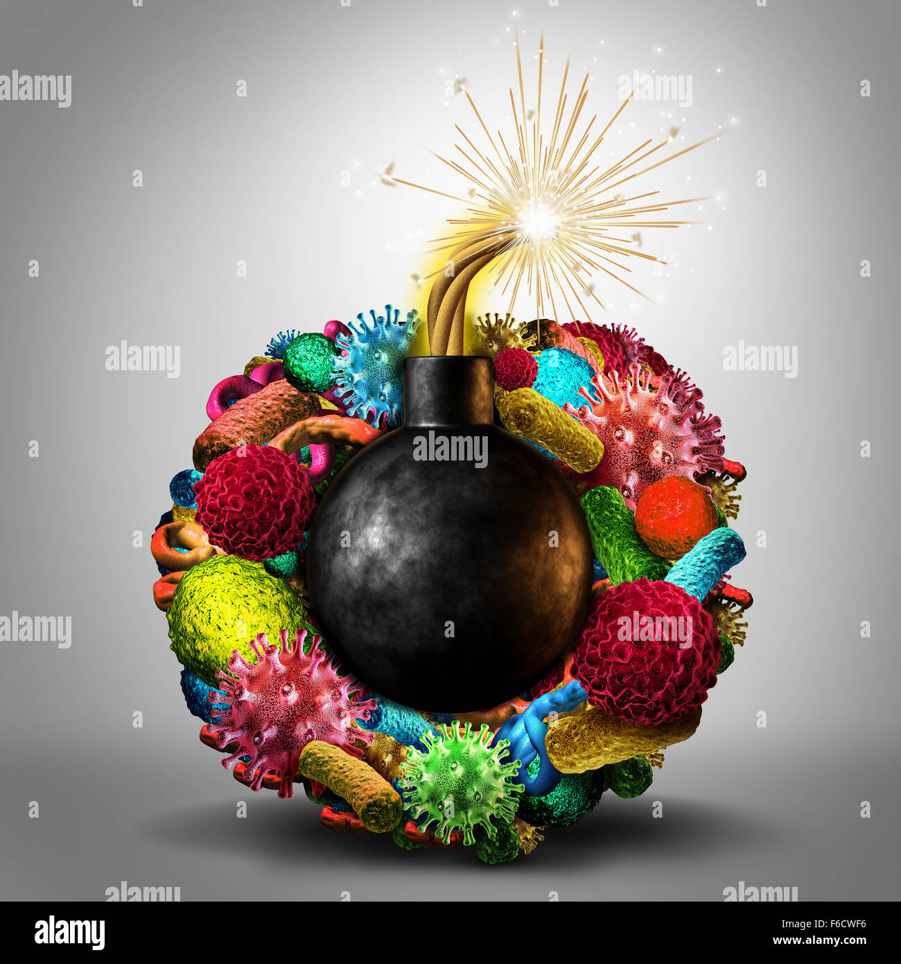 Disease time bomb medical health risk concept as a group of viruses bacteria and disease cells shaped as a lit bomb - Stock Image