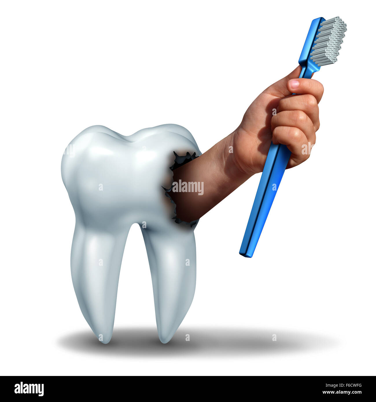 Brushing teeth concept as a human tooth with a cavity as a hand emerging out holding a generic toothbrush or tooth - Stock Image
