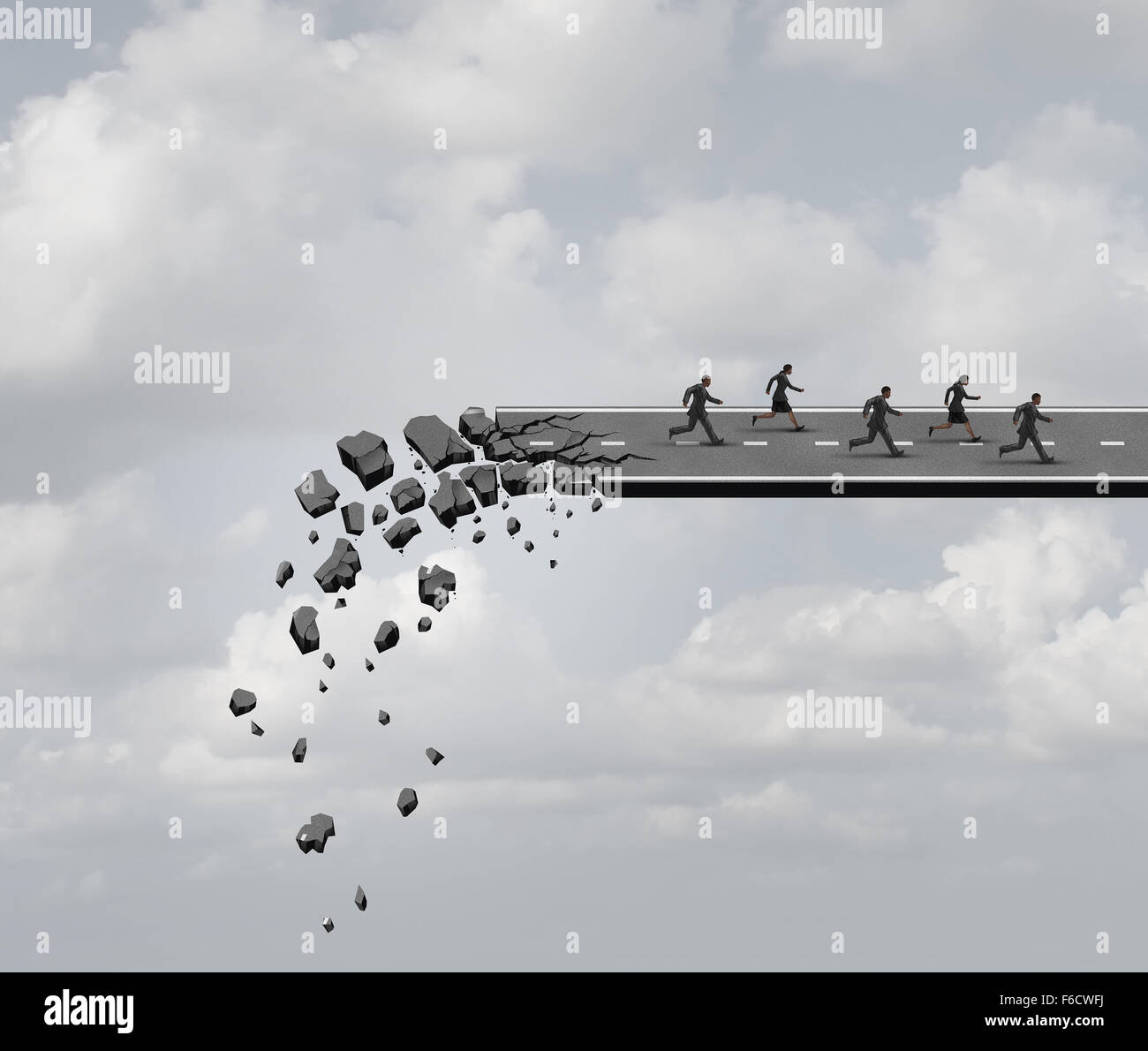 Race against time and urgent deadline stress business concept as a group of business people running away from a - Stock Image