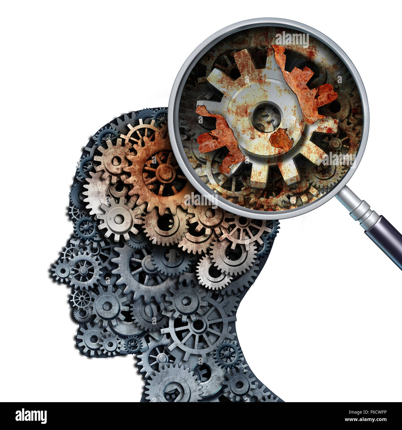 Brain decline and dementia or aging as memory loss concept for brain cancer decay or an Alzheimer's disease - Stock Image