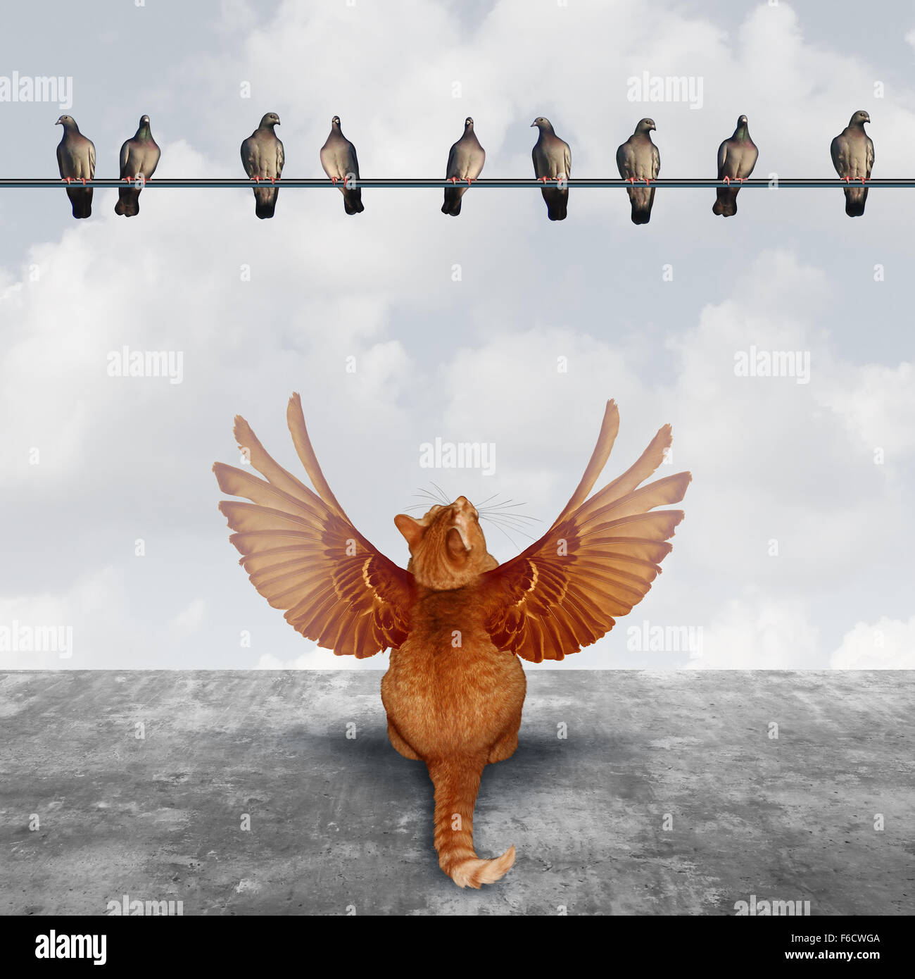 Motivation and imagination concept as an ambitious cat with imaginary wings looking up at a group of birds as an - Stock Image