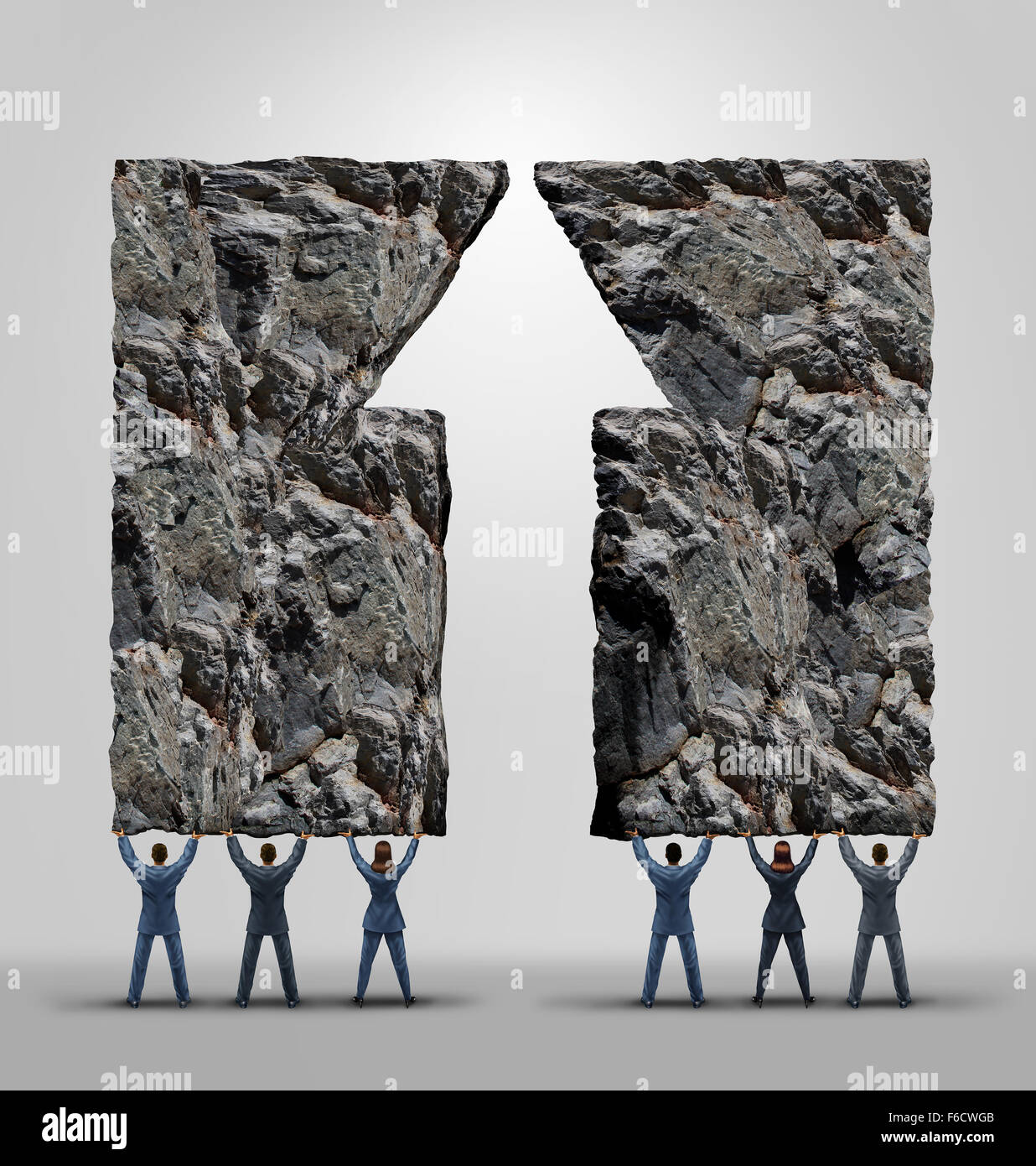 Business team support and company teamwork success and motivation concept as two teams joining together lifting - Stock Image