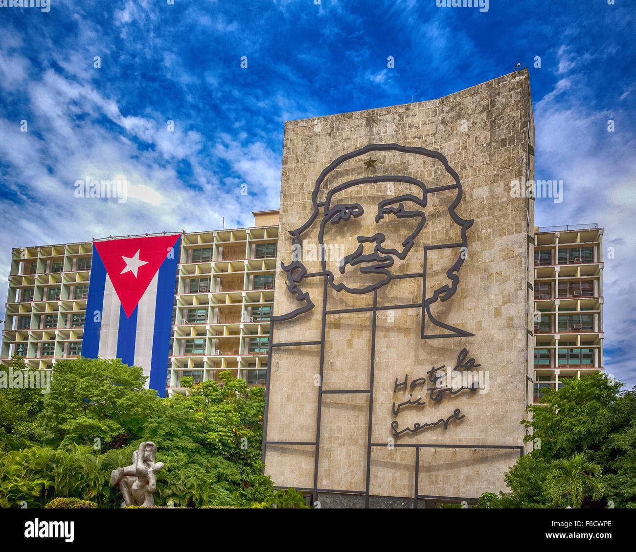 Ernesto Che Guevara as an art installation and propaganda work of art on a wall at the Revolution Square - Stock Image