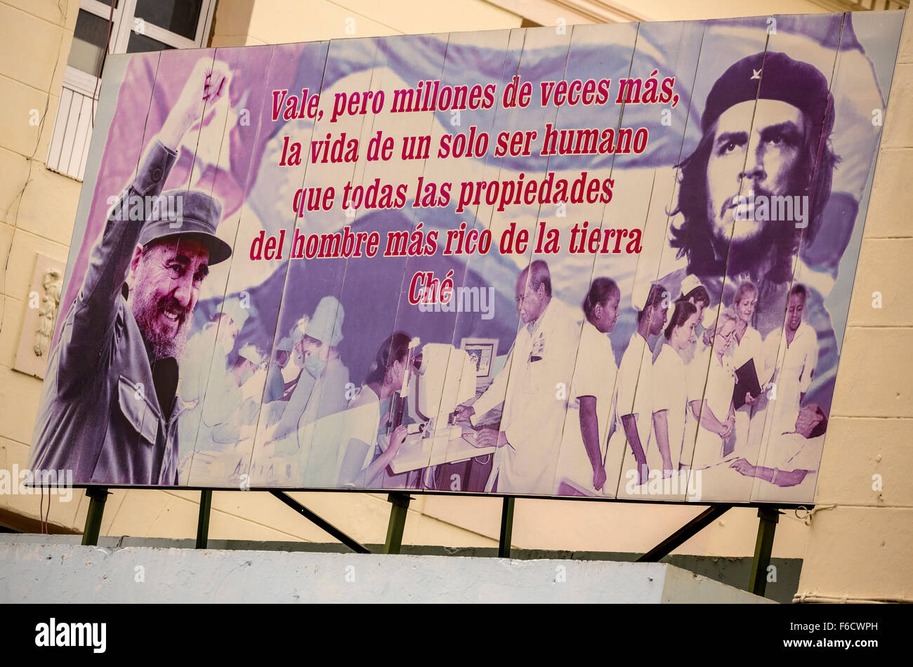 Poster with Fidel Castro and Che Guevara, advertising poster, political poster, propaganda poster, La Habana, Havana, Stock Photo