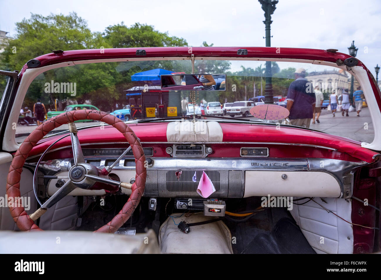 Dashboard of an old Buick, red vintage car cabriolet on the streets, old American road cruiser on the streets, Havana, - Stock Image