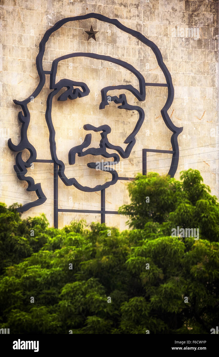 Ernesto Che Guevara as an art installation and propaganda work of art on a wall in the Revolution Square, the Interior - Stock Image