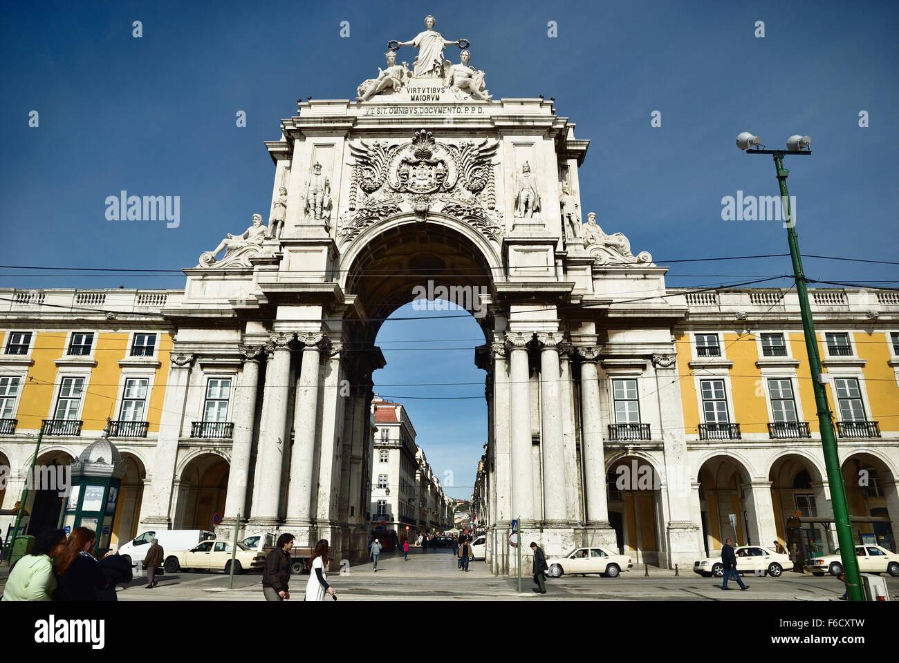 Rua Augusta Arch, Lisbon. Portugal. Europe. - Stock Image