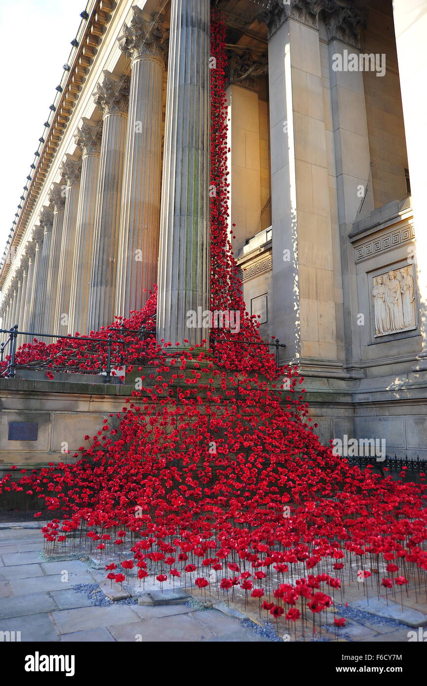 The' Weeping Window' of ceramic poppies on display at Liverpool's St George's Hall to commemorate - Stock Image
