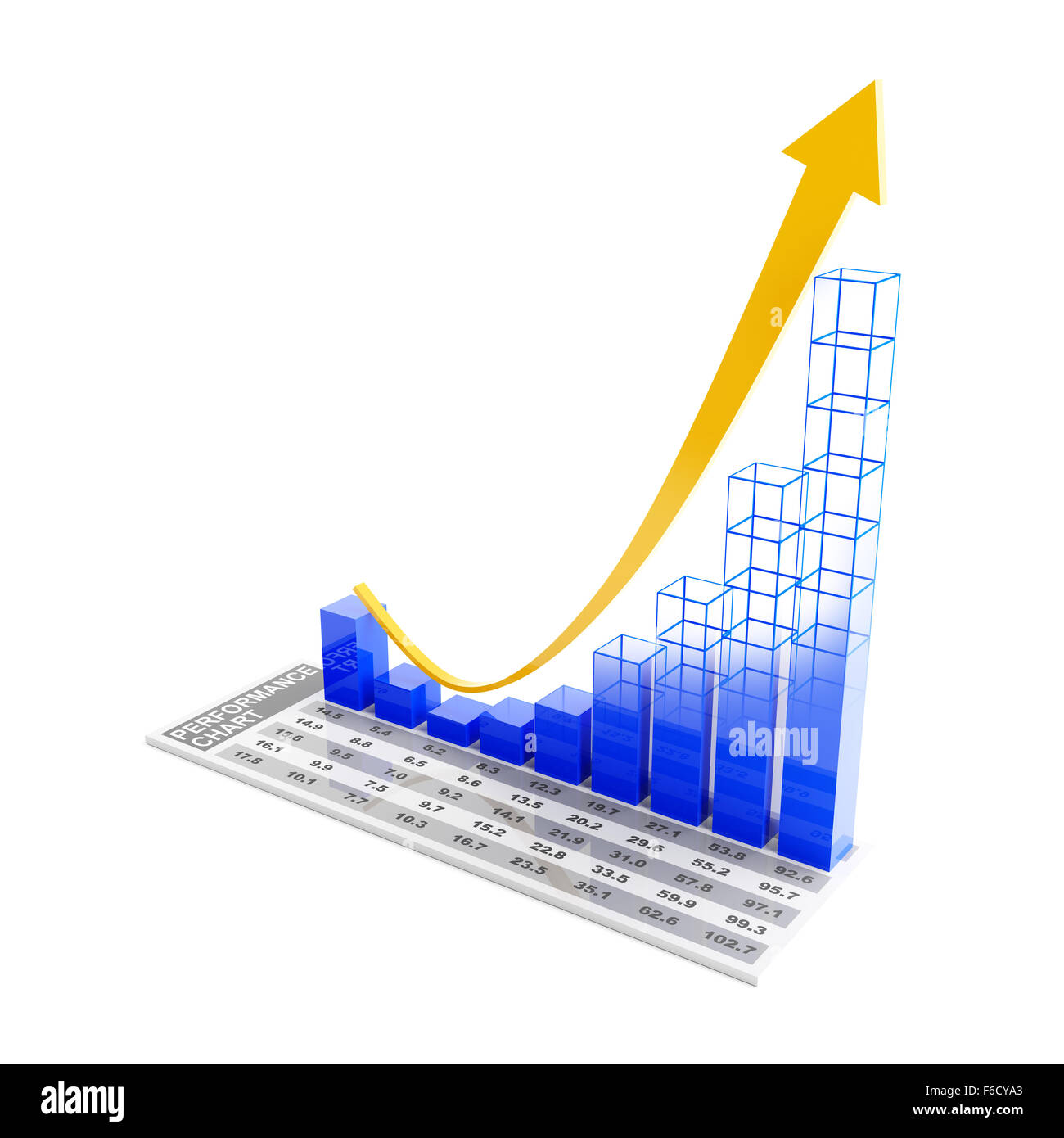 Performance chart showing future rebound trend - Stock Image