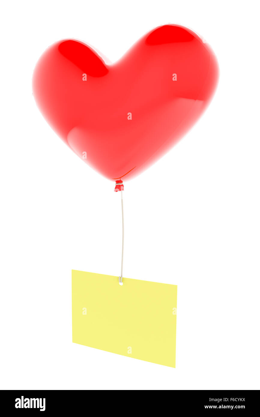 Heart shaped balloon with memo - Stock Image