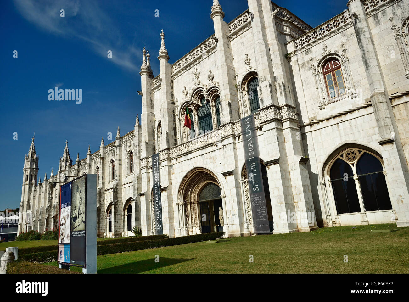 National Archaeology Museum. The Jeronimos Monastery - Mosteiro da Santa Maria de Belém - located in the Belem - Stock Image