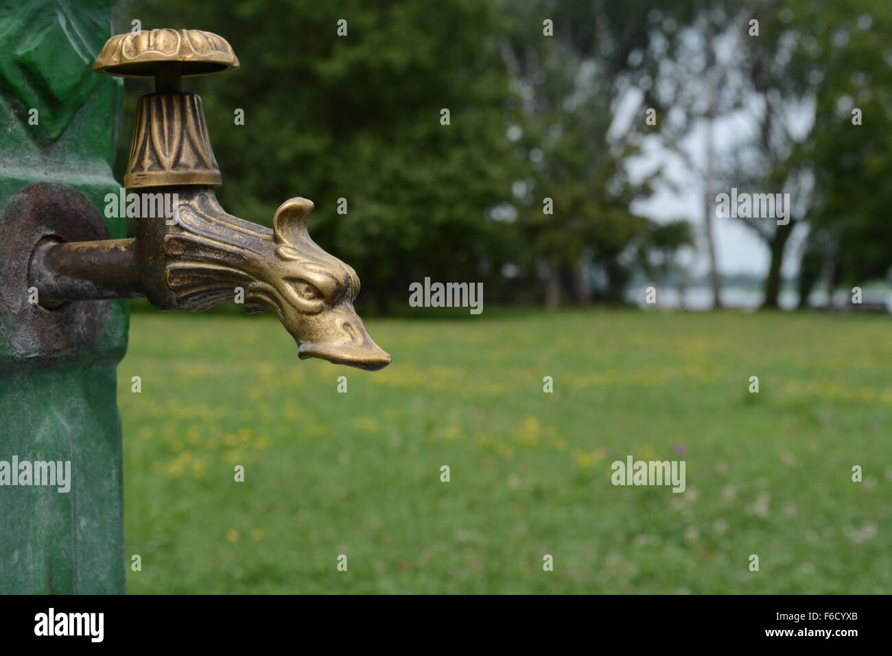 Brass dragon water tap in park without water - Stock Image