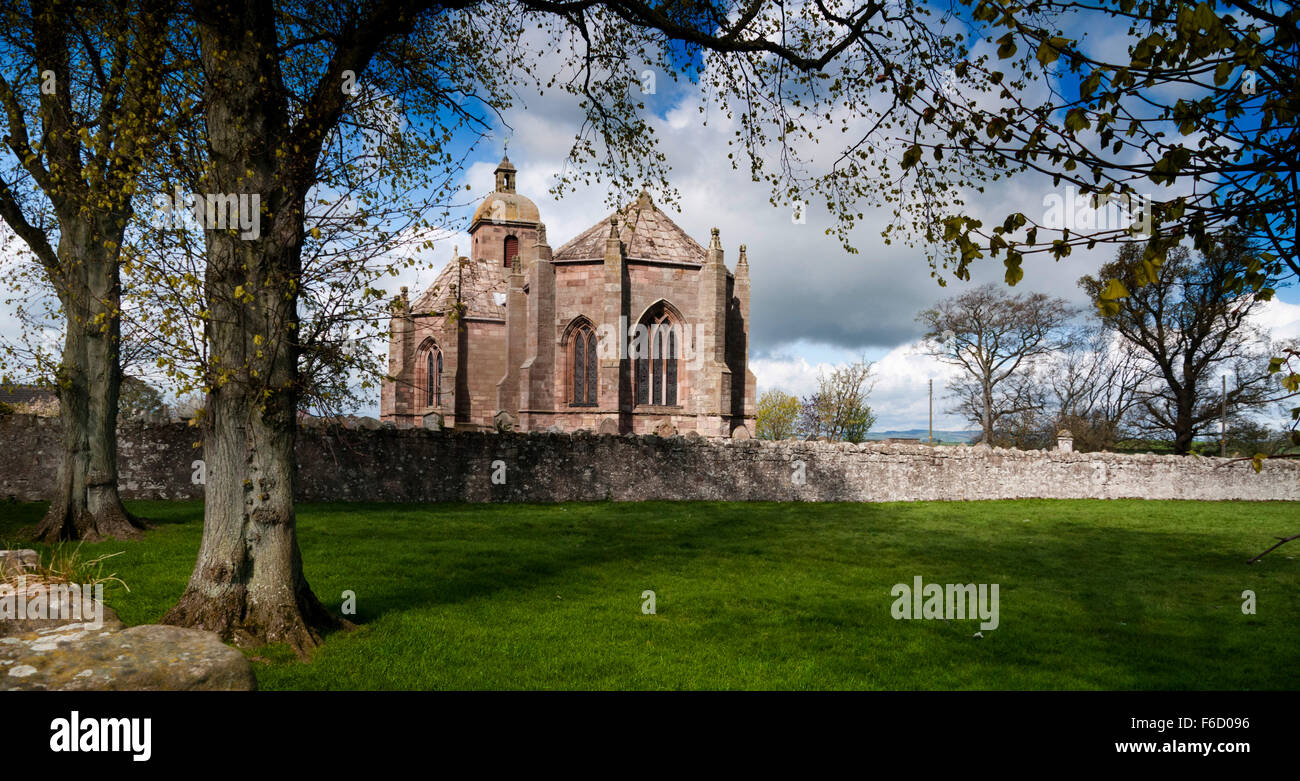 James IV had this handsome church built in thanks after nearly drowning in the River Tweed whilst retreating from - Stock Image