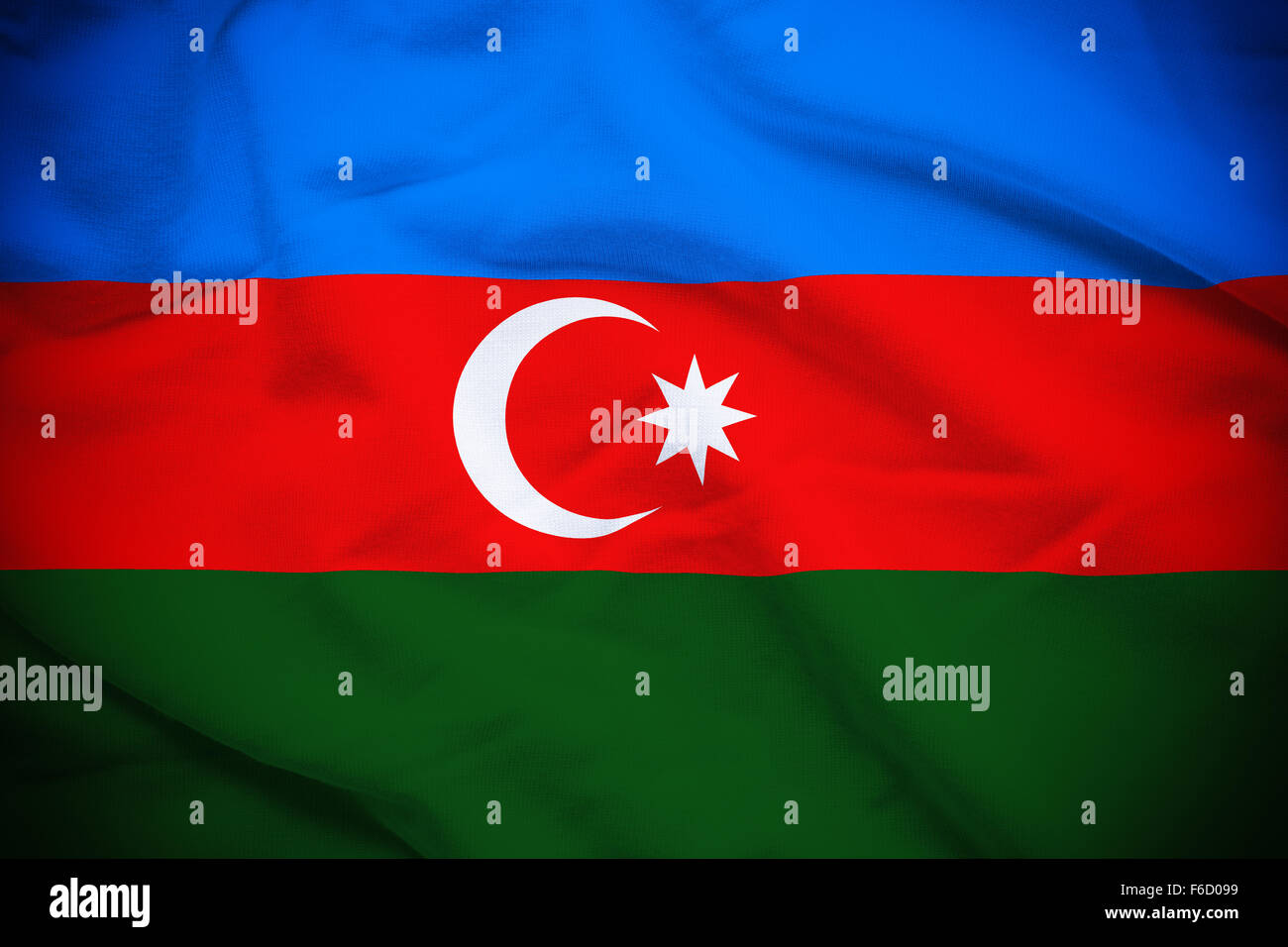 Wavy and rippled national flag of Azerbaijan background. - Stock Image
