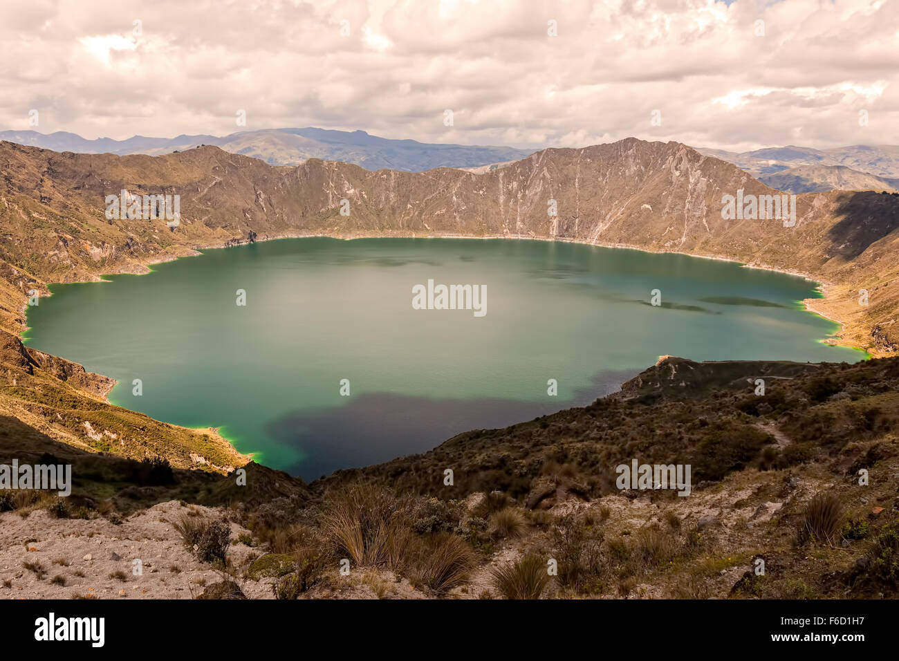 Quilotoa Lake Is The Water Filled Caldera That Was Formed By The Collapse Of The Volcano Following A Catastrophic - Stock Image